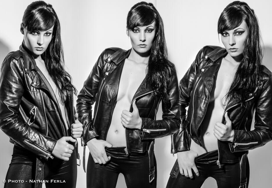 photographe de mode tryptique veste cuir noir